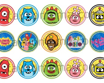 INSTANT DOWNLOAD One Inch 4x6 Bottle Cap Images: Yo Gabba Gabba