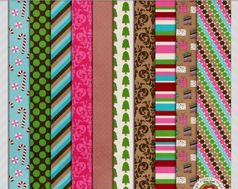 Merry Merry Patterned Digital Paper Scrapbooking Set