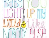 Baby You Light Up My World - One Direction 1D Card