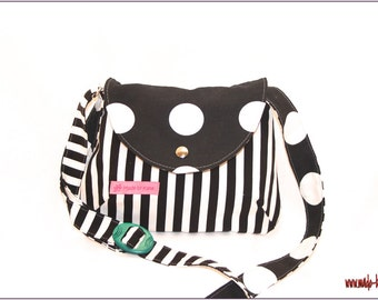 small shoulder bag, purse - black and white striped