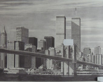 Art Print of Manhattan Skyline with Twin Towers Pencil Drawing