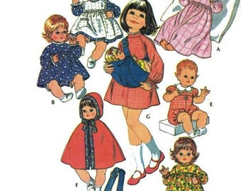 Vintage Sewing Pattern McCalls 3430 Baby Doll Wardrobe and Carrier 1970s