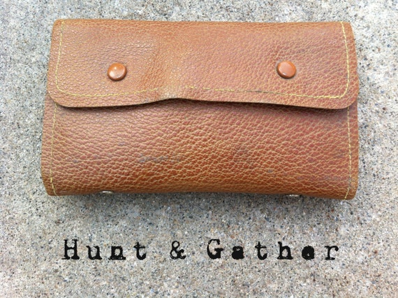 Vintage Leather Fly Fishing Wallet Pouch with Flies and Spinners