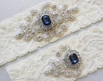 RACHEL II - Sapphire Blue Wedding Garter Set, Wedding Stretch Lace Garter, Rhinestone Crystal Bridal Garter Set