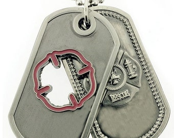 Firefighter Prayer Brushed Steel Cutout Double Dog Tags SKU: DT032