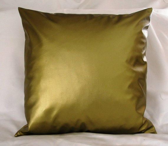 Vinyl Decorative Pillows : Chartreuse Green Vinyl throw Pillow Cover 20 x 20 For the