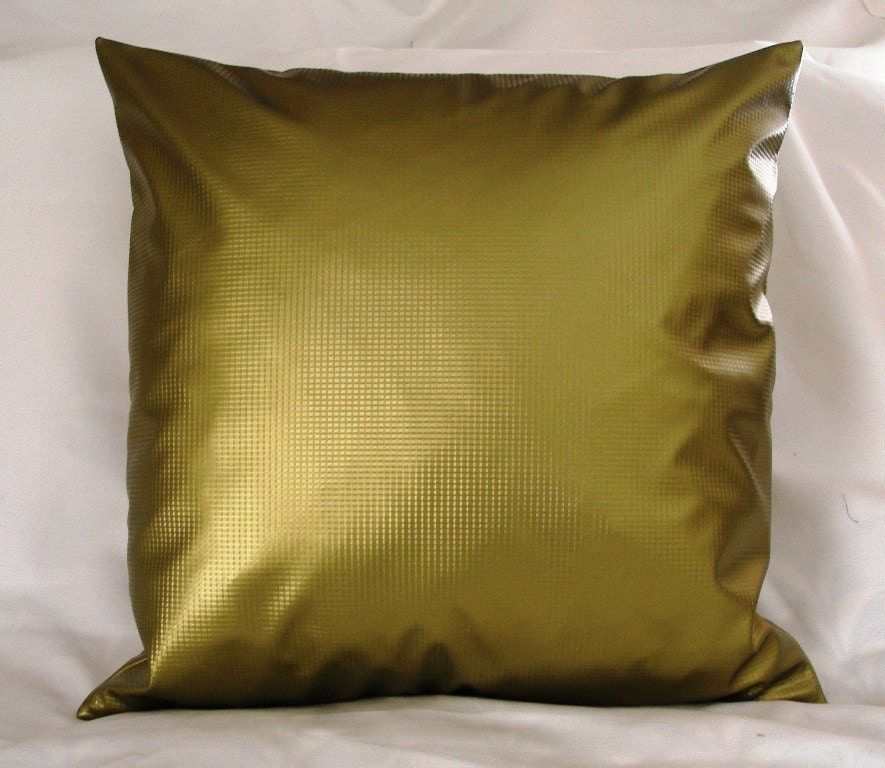 Vinyl Throw Pillows : Chartreuse Green Vinyl throw Pillow Cover 20 x 20 For the
