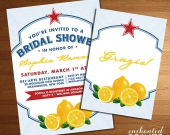 Italian Themed Wedding, Bridal or Baby Shower Invitation - Lemons, Italy, Amalfi Coast Design - Printed Invites or Printable Invitations
