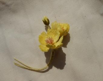 Yellow fabric flower corsage