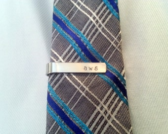 Free Shipping / Father's Day / Birthday / Groomsmen / Men's Personalized Custom Hand Stamped Monogram Skinny Tie Clip / Tie Bar