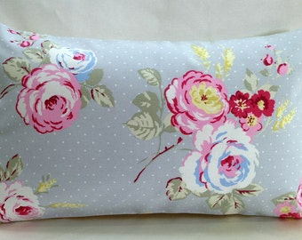 lumbar pillow, Decorative throw pillow, English Rose, shabby chic, Boudoir, Bolster, Floral pillow case, grey, pink, blue, handmade