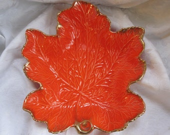 Burnt Orange Maple Leaf Serving Dish