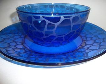 Etched bowl and plate set.  Cobalt blue, wedding gift, serving dish.