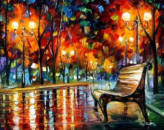 Home Decor Paintings Bench Wall Art On Canvas By Leonid Afremov   Why Did  She Leave
