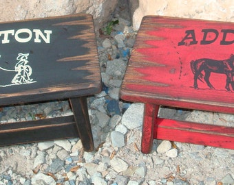 Personalized wood child stool, Western step stool for girl's and boy's