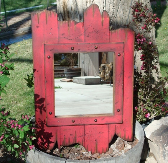 Red Rustic Christmas Wood Barn Wood Mirror Antiqued