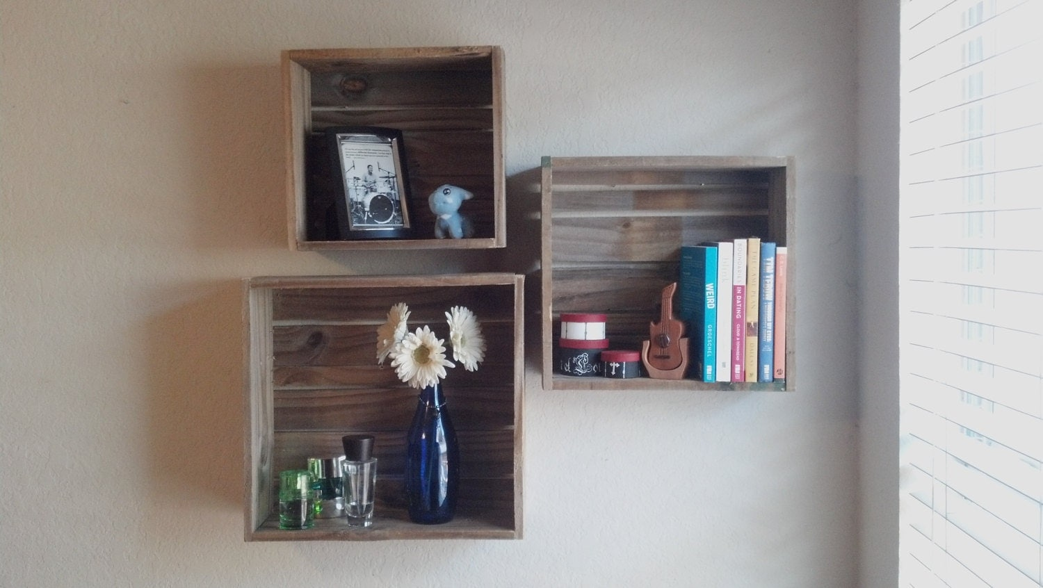 Ikea Crate Floating Wood Box Shelves