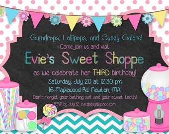 Printable Sweet Shoppe Candyland Birthday Invitation