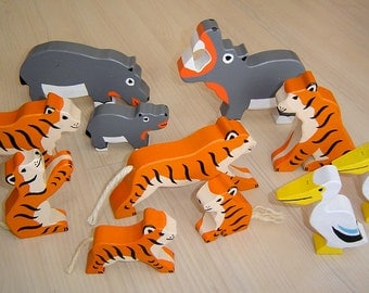 pdf patterns / tutorial for 10 different wooden animals in Waldorf style, DIY - tiger, hippo, pelican