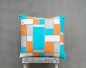 Turquoise Blue Pillow, Gray Pillow, and Orange Pillow, Orange Geometric Pillow Case, Squares Rectangles 18x18 Decorative Throw Pillow Cover - EdenPillows