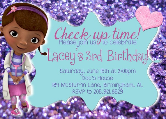 Doc McStuffins Invitations Printed or by AllieLoganDesigns