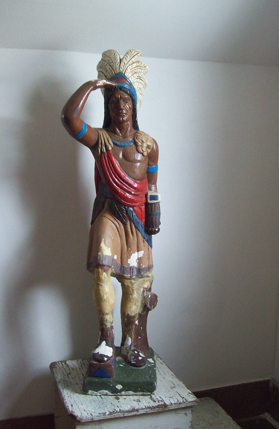 Antique Cigar Store Indian Chalkware Statue 1930s Large Size