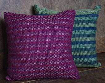 Pink diamond hand woven cushion