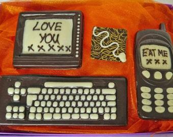 Hand-made Belgian chocolate computer and phone