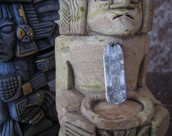 Handcrafted  Mayan Glyph Pendant in 999 Fine Silver
