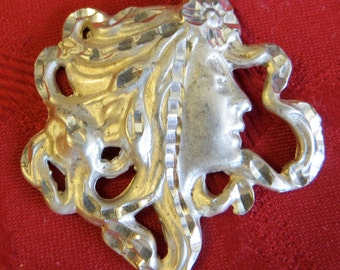 Vintage Art Nouveau Woman With Flowing Hair Sterling Silver Necklace Pendant - Free Shipping