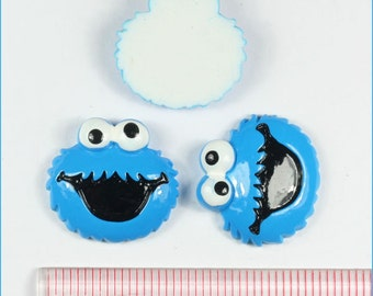 2/3/5 Sesame Street Cookie Monster Resin Flat back Cabochon Hair Bow Center