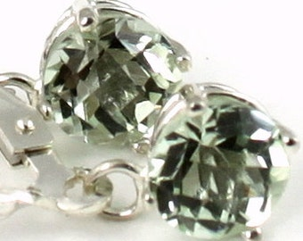 SE017, 6mm Green Amethyst, 925 Sterling Silver Leverback Earrings