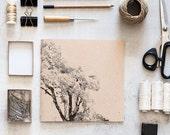Tree handmade notebook journal, screen print notebook journal, squared recycled kraft notebook