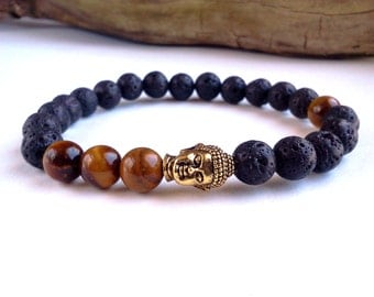 ON SALE!!! Mens Buddha bracelet, Lava Stone bracelet, Tigers Eye bracelet, Antique Gold Buddha bracelet, Mens bracelet, Energy bracelet