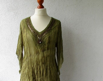 Vintage Green women's blouse V neck  Large size XL  See through lightweight top Womens Spring Summer Sexi Clothing