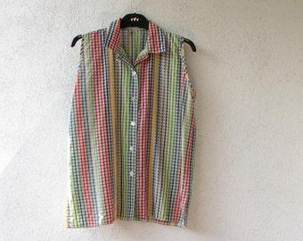 Summer Tunic, Shirt  collared tank top, Vintage Rainbow Short Dress Tunic M/L