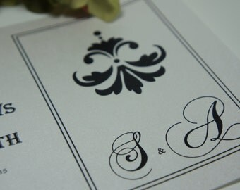 100 Wedding Invitations, invites  Black and white damask with monogram   available in any color