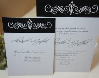 100 Wedding Invitations, invites  Black accent Border with elegant script lettering