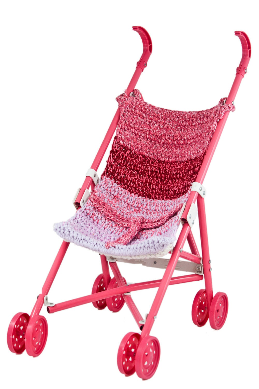 Toys For Strollers : Hand made crochet pink baby doll stroller toy