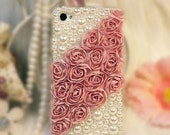 Handmade  iphone 4S case, iphone 4 case, rhinestone, pearl, crystal,bling,cute,birthday gift,rose,pink,black iphone accessories