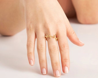 Gold Branch Ring with Black Stones