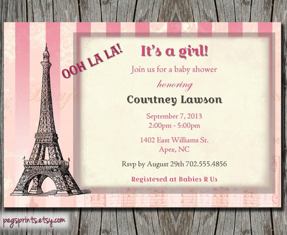 paris baby girl shower invites thank you card by pegsprints