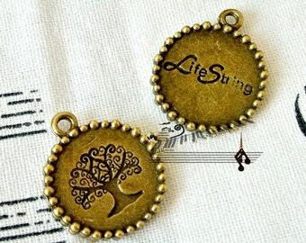 DIY  jewelry   10 pcs of antique brass evergreen tree 18mm