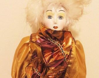 Vintage Harlequin Porcelain Doll