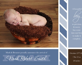 Boy Birth Announcement, Photo baby announcement, Baby photo card, New baby card, 5x7, baby boy, Birth announcement