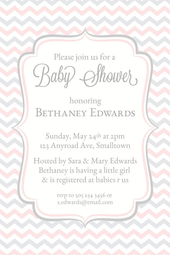 Baby Shower Invitation Purple Chevron Invitations Baby