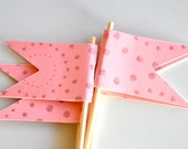 Pink with Glitter Circles Cupcake Toppers Set of 12