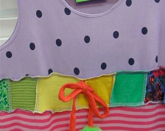 Hippie dress/tunic for little girls-upcycled with bobble tie