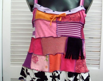 Summer hippie suntop in hot pinks