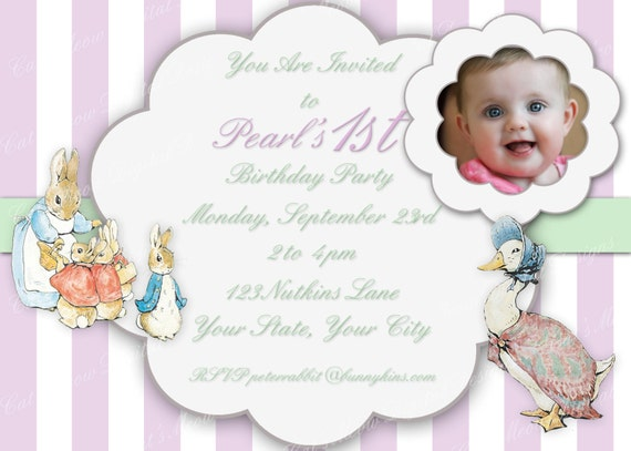 Beatrix Potter Printable Invitation Personalized Peter Rabbit – Beatrix Potter Birthday Invitations
